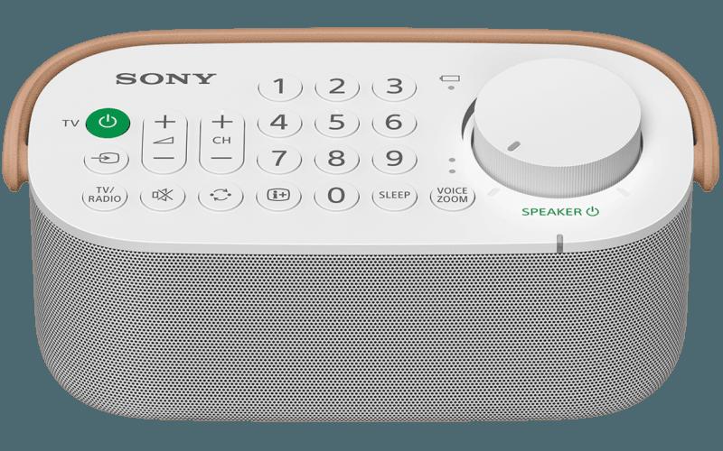 Angled top shot of SRS-LSR200 wireless handy TV speaker